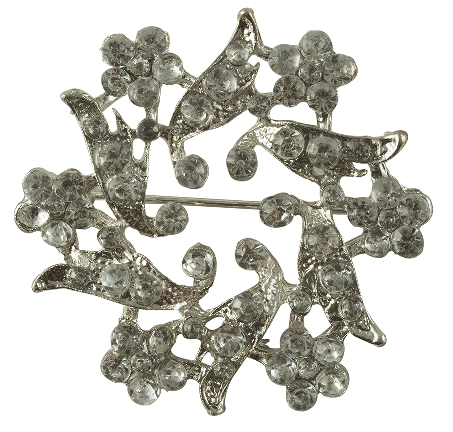 Vintage Style Jewelry, Retro Jewelry Crystal Rhinestone Pin in Silver Finish Metal (1.75 Diameter) $3.25 AT vintagedancer.com