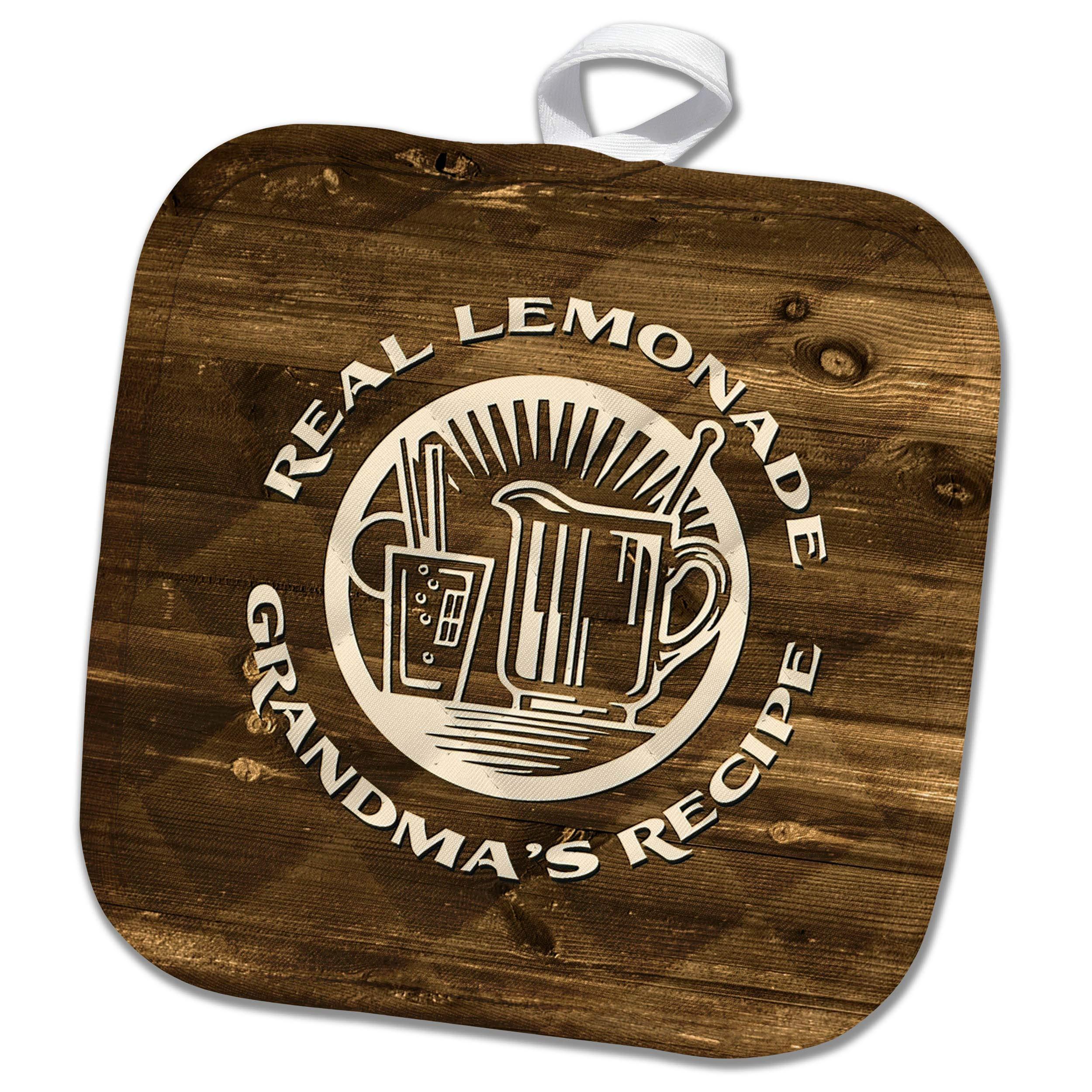 3dRose Russ Billington Designs - Real Lemonade- Grandmas Recipe- Ivory Text on Wood- Not Actual Wood - 8x8 Potholder (PHL_293748_1)