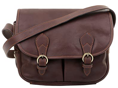 cb53ad2aea Primo Sacchi Ladies Luxury Italian Leather Dark Brown Satchel Style Shoulder  Crossbody Bag Handbag. Includes