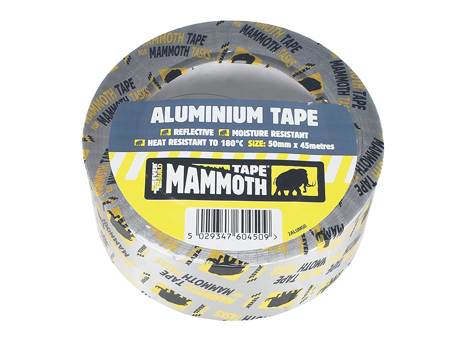 Mammoth Aluminium Tape - Heat and light reflective aluminium foil tape - 100mm x 45m - Silver Toolbank EVB2ALUM100