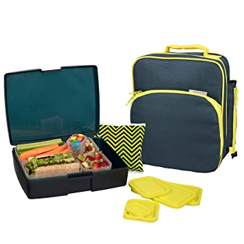 Bentology Lunch Bag and Box Set- Durable Insulated Tote w Bottle Holder- Boys School Lunchbox Includes Bento Box, 5 Containers & Ice Pack - BPA & PVC ...