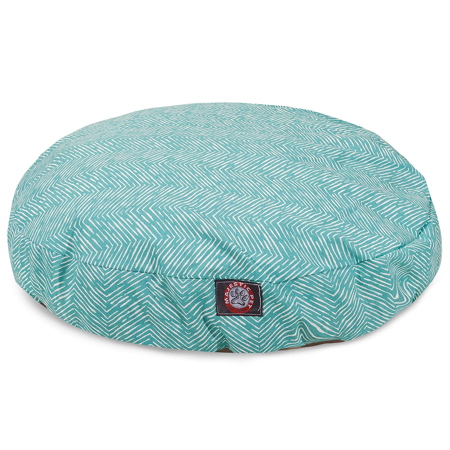 Teal Native Small Round Indoor Outdoor Pet Dog Bed with Removable Washable Cover by Majestic Pet Products