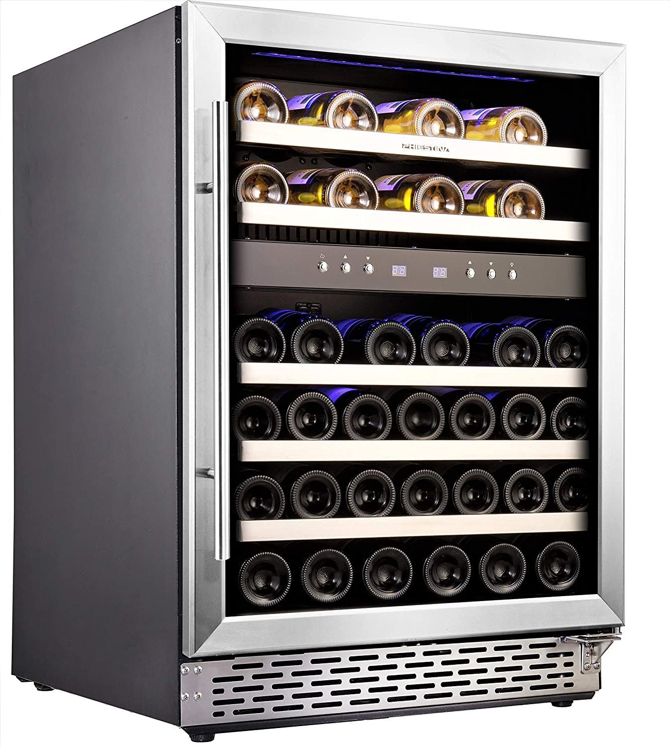 Phiestina 24'' Built-in or Free-standing 46 Bottle Wine Cooler Refrigerator. Pro Stainless Steel Frame & Door, Handle. Sliding Racks. Compressor Cooling with Press Button Temperature Setting