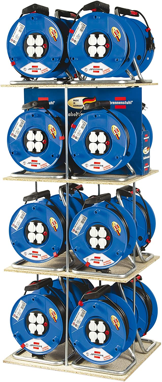 290 mm Dia Cable Colour: Black 50m Length, Ergonomic Handle Brennenstuhl 1208063 Garant 3-Way Socket Outlet Reel