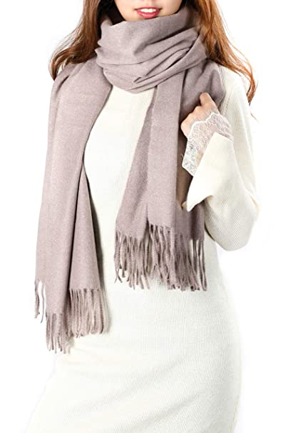 2707b4463d920 Women's Gray Pashmina Shawl, Super Soft Cashmere Feel Stole Scarf, Large  Oversized Warm Wool