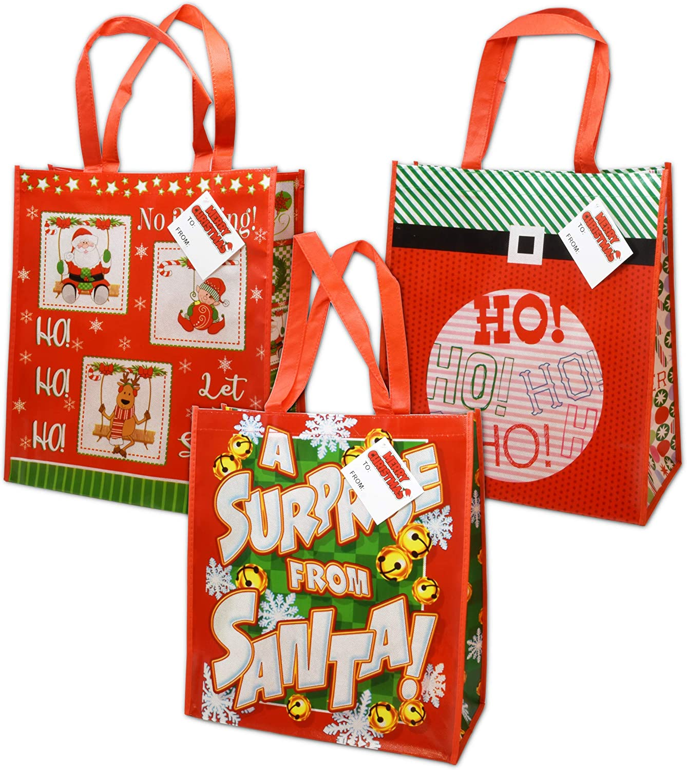 12 Jumbo Christmas Reusable Gift Bag Grocery Shopping Totes for The Holidays