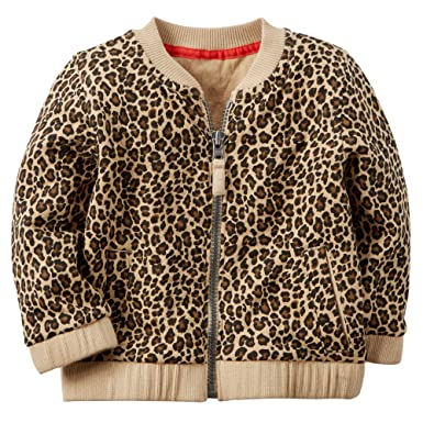 dd6f569111d4 Carter's Baby Girls' Leopard Print Jacquard Bomber Jacket (24 Months, ...