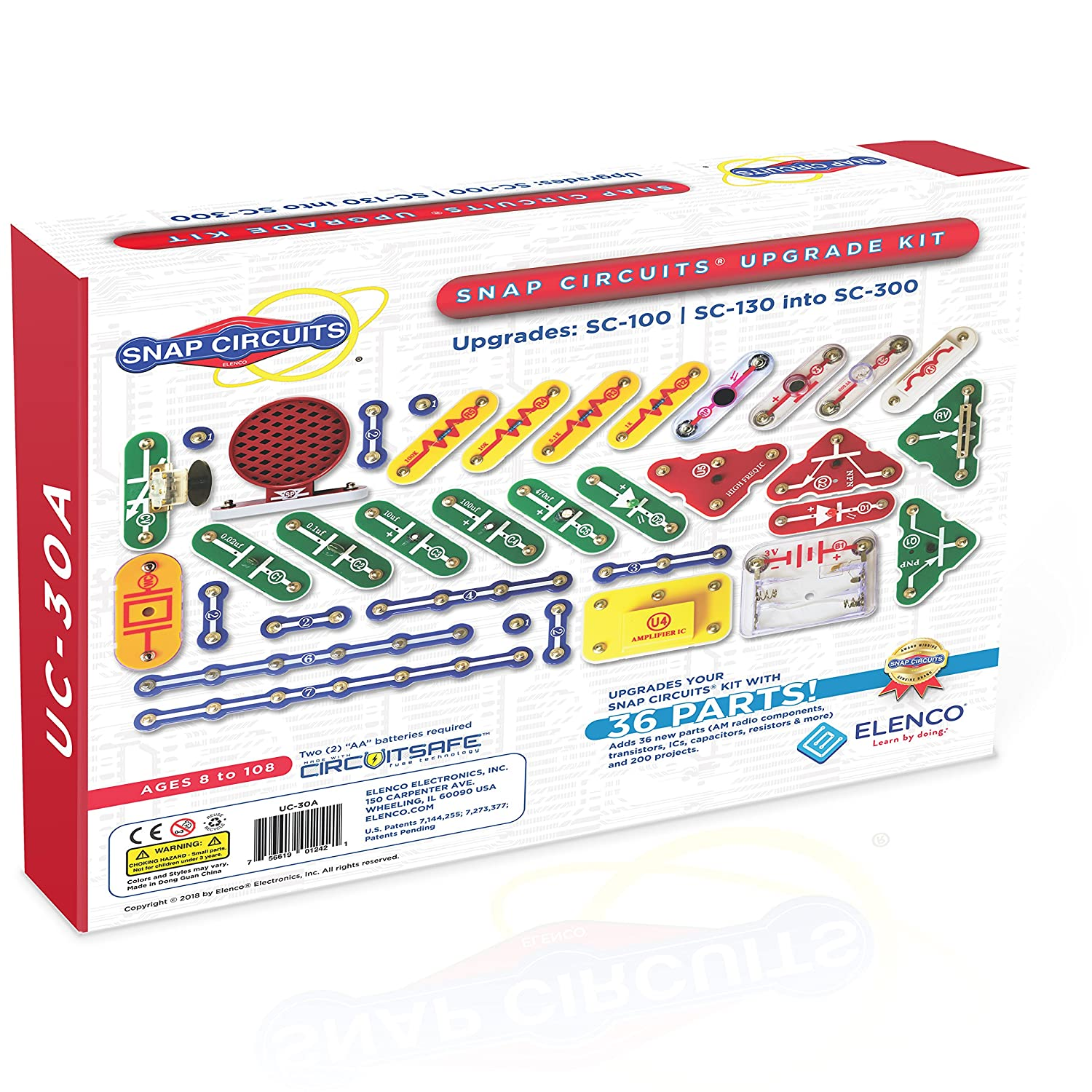 Elenco Scl 175 Snap Circuits Light Kids Learn Electronic Projects Jr Select Sc 130 To 300 Upgrade Kit Toys Games