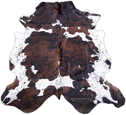 RODEO Real Cowhide Genius Leather Hair on Leather Rug Decorative Value Size Approx 6X7 ft Brindle Nutella