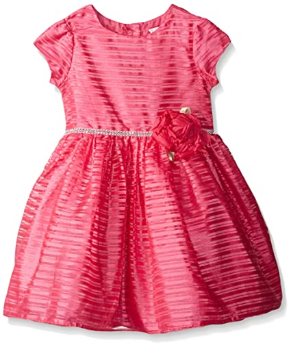 Sweet Heart Rose Girls' Little Organza Stripe Special Occasion Dress, Pink, 6X