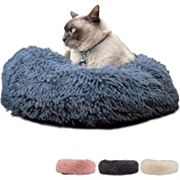 Zenify Pets Calming Dog Bed for Cats or Small Medium Dogs Puppy (50cm, Dark Grey)