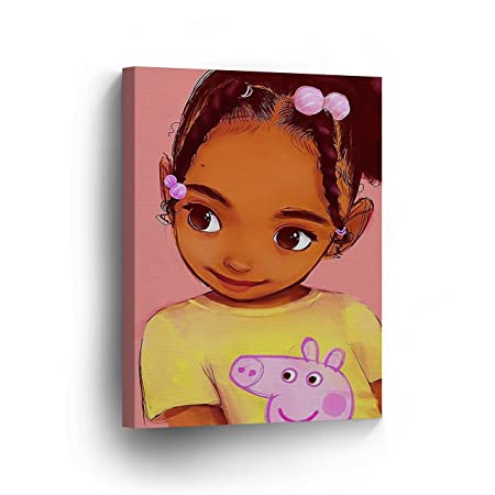 Cute African Kid Girl Pink Background Digital Painting Canvas Print Kids Room Wall Art African Art Home Decor Stretched Ready to Hang – 100 Hmade in The USA – 22×15
