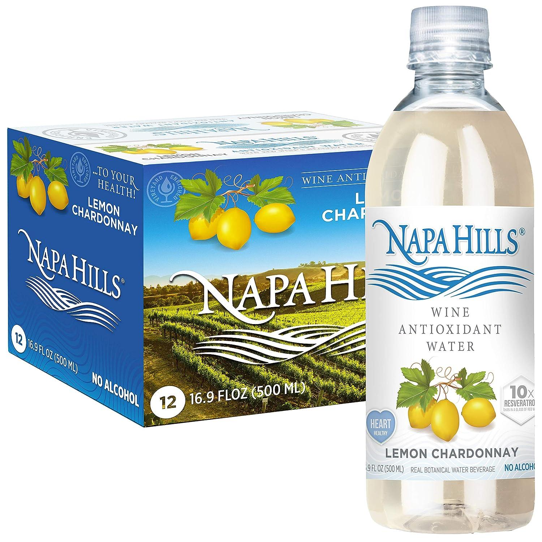 Napa Hills Wine Antioxidant Water - Lemon Flavored Wine Water, Non-Alcoholic Resveratrol Enriched Drink - Lemon Chardonnay 12 Pack - No Wine Taste, No Carbs, No Calories, Sugar Free