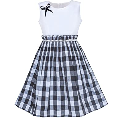 a9e62cf4c4bc7 Sunny Fashion Robe Fille Noir Tartan Plaid Robe d été Arrière École 4-5