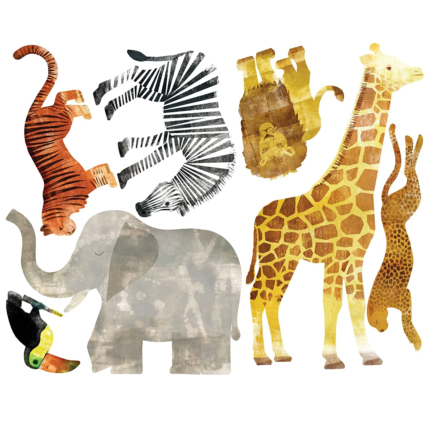 Wallies Wall Decals, Wild Animals Wall Stickers, Set of 7