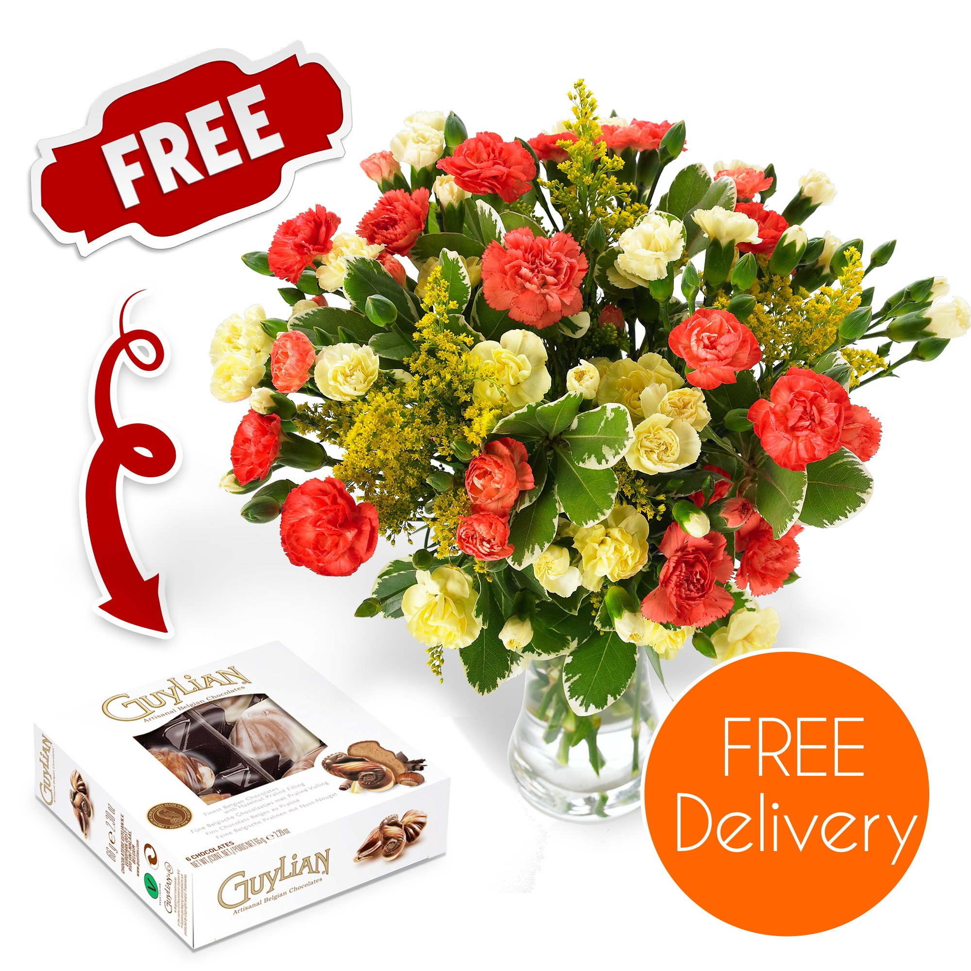 Chocolate flower bouquet amazon fresh flowers delivered free uk delivery blazing spray carnation bouquet with free chocolates izmirmasajfo