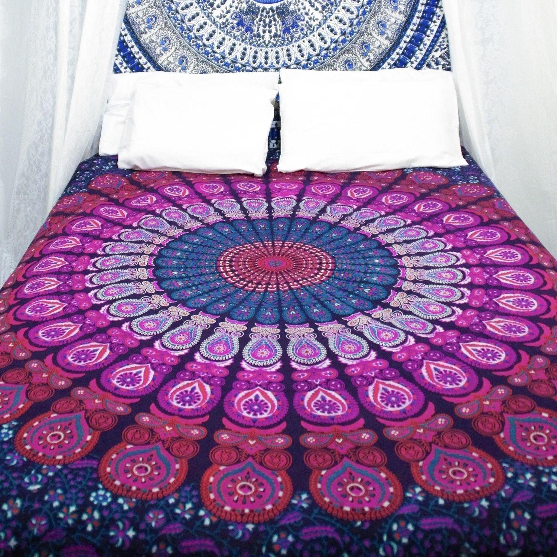 Kiara 3 pc Mandala cama postura millones de romántico suave ropa de cama Plain de sarga Boho Bohemio Funda de edredón juego de cama de tamaño Queen: ...