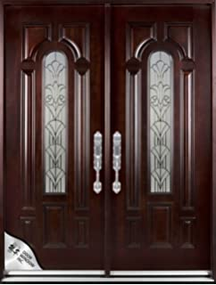 M280A 36x80X2 Right Hand Swingin Exterior Front Entry Double Wood Door Ready To Install