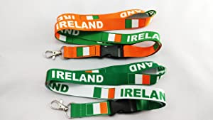 2 Ireland Flag Reversible Lanyards with Clip for Keys or Id Badges