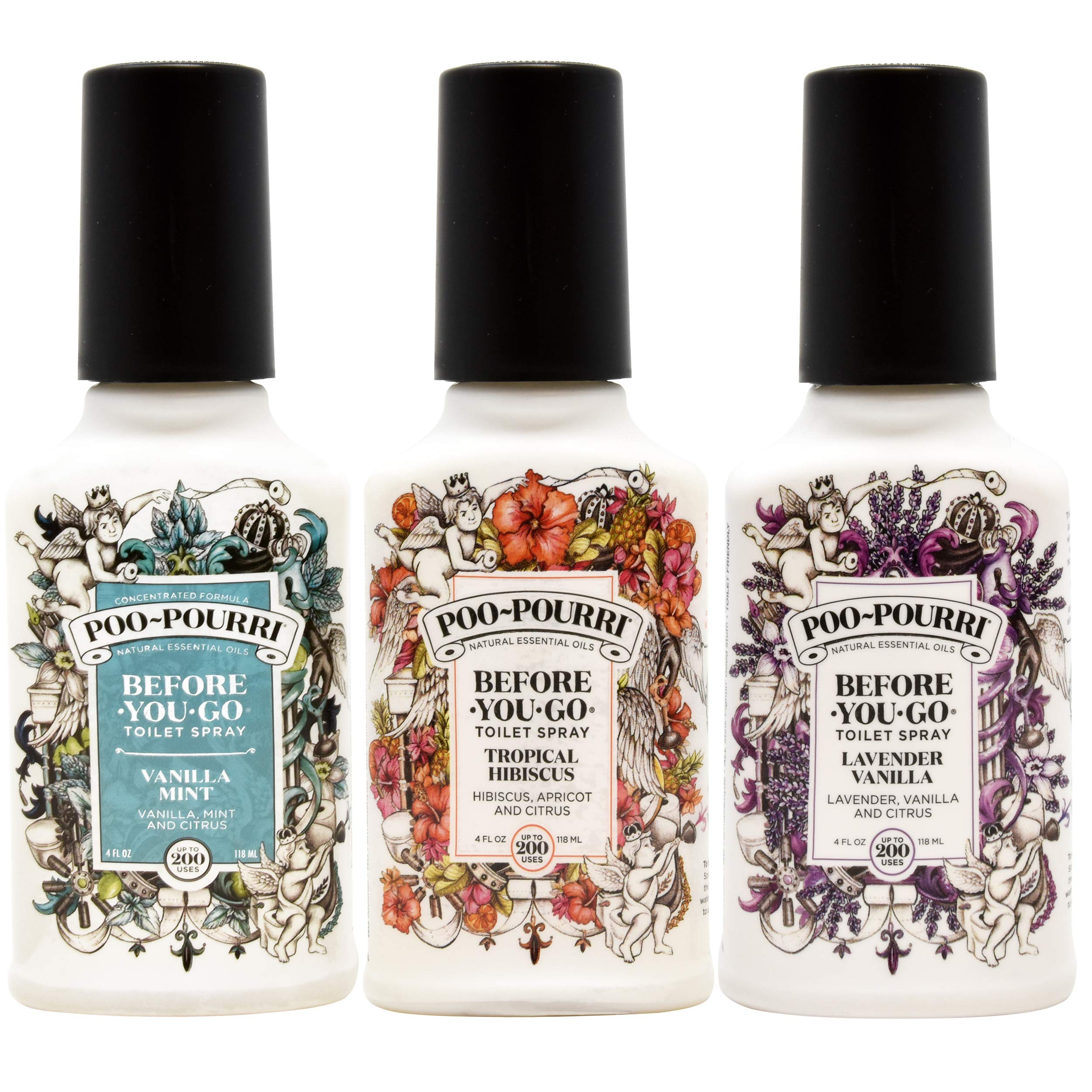 Poo-Pourri Lavender Vanilla, Tropical Hibiscus and Vanilla Mint 4-Ounce Set by Poo-Pourri (Image #1)