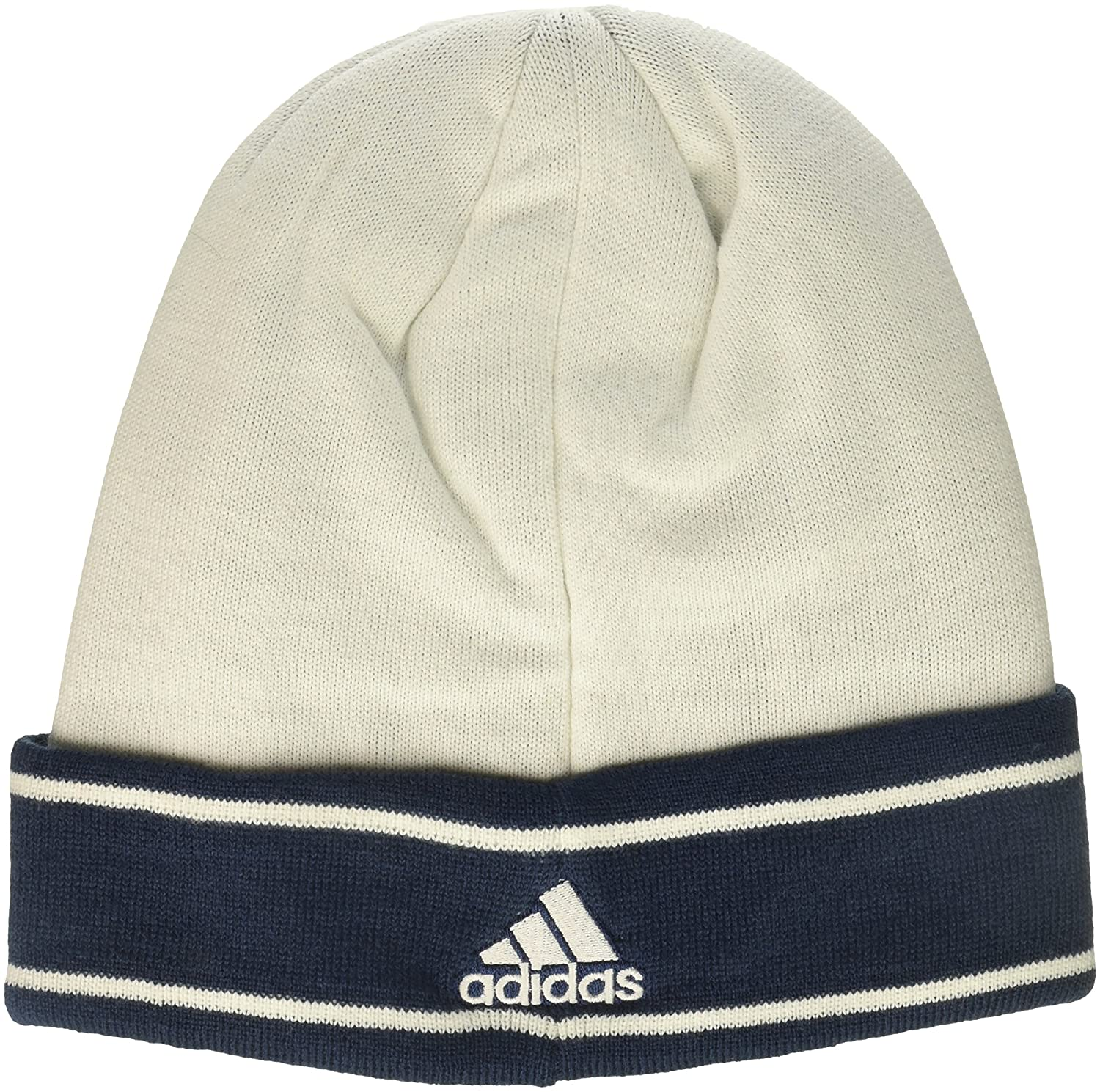White One Size adidas Adult Men Jacquard Logo Cuffed Knit