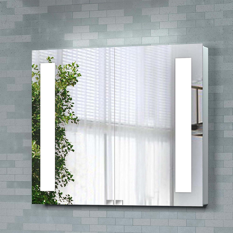 Wall Mounted Luxury 670 X 780mm Backlit Illuminated Bathroom Mirror Cabinet:  Ibathuk: Amazon: Kitchen & Home