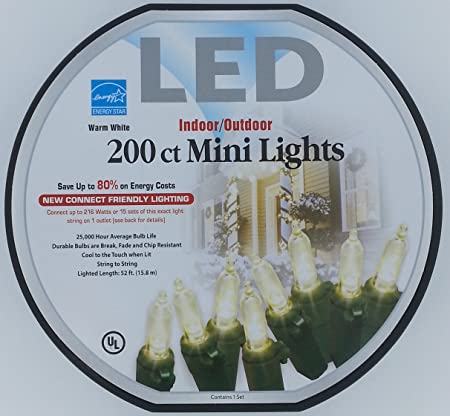 Sam\'s Club 200ct Mini-Style LED Lights - White Wire with Warm White ...