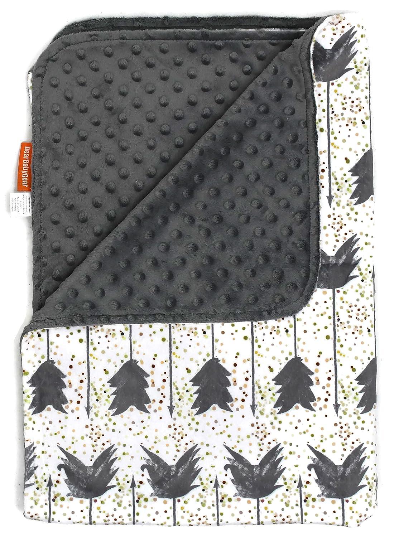 Dear Baby Gear Deluxe Baby Blankets, Custom Minky Print, Grey Arrows on Confetti, Grey Minky Dot
