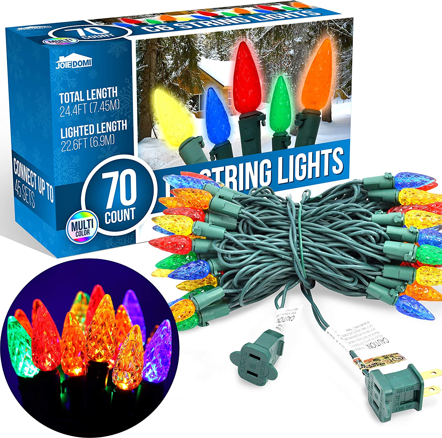Joiedomi 70-Counts C6 Christmas Light, Multicolor Christmas Lights for Indoor or Outdoor Christmas Decorations