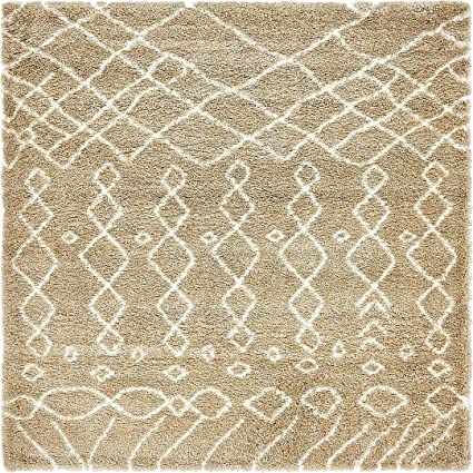 8057f506a4d Amazon.com  A2Z Rug Modern Tribal Plush Marrakesh Shag Collection Taupe 8  x  8  -Feet-Square Soft Shaggy Area Rugs Contemporary  Home   Kitchen