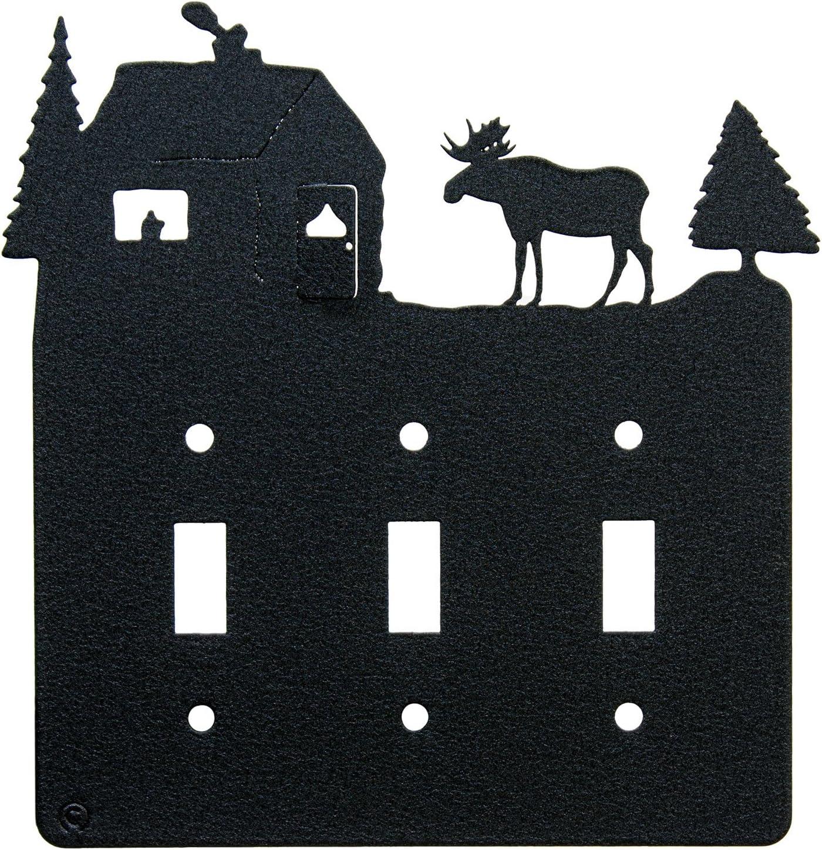 Moose & Cabin Triple Toggle Light Switch Wall Plate (Triple Toggle, Black)