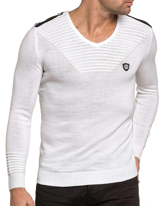 1ff193d16e5df BLZ Jeans - Pullover Homme Blanc col V Fashion - Couleur  Blanc - Taille   XL XXL  Amazon.fr  Vêtements et accessoires