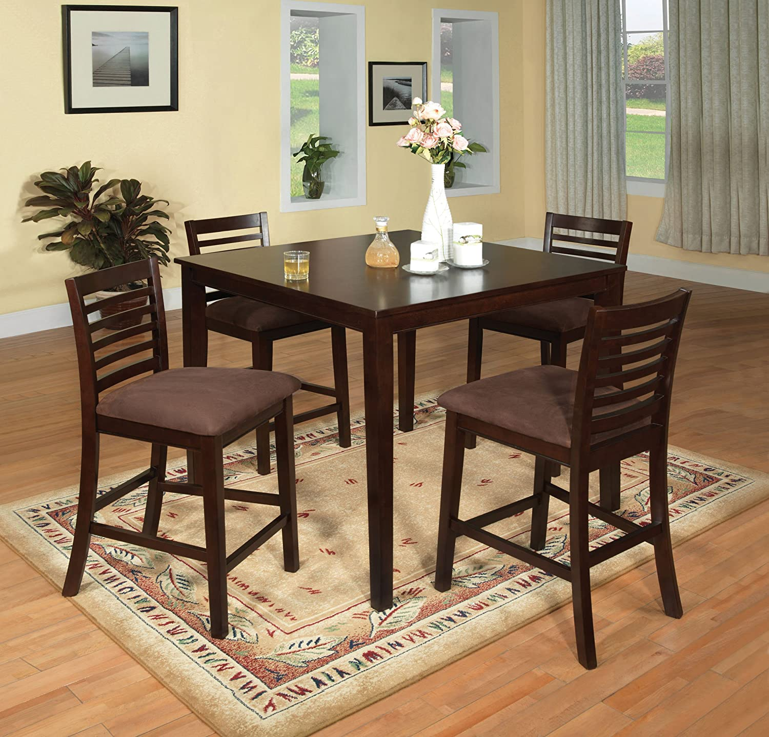Amazon.com   Furniture Of America Ramone 5 Piece Counter Height Dining  Table Set, Espresso Finish   Table U0026 Chair Sets Part 52