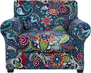 hyha Printed Couch Chair Cover - Floral Pattern Sofa Cover with Separate Cushion Cover, 2 Piece Stretch Armchair Slipcover Washable Furniture Protector (Armchair, Paisley Floral)