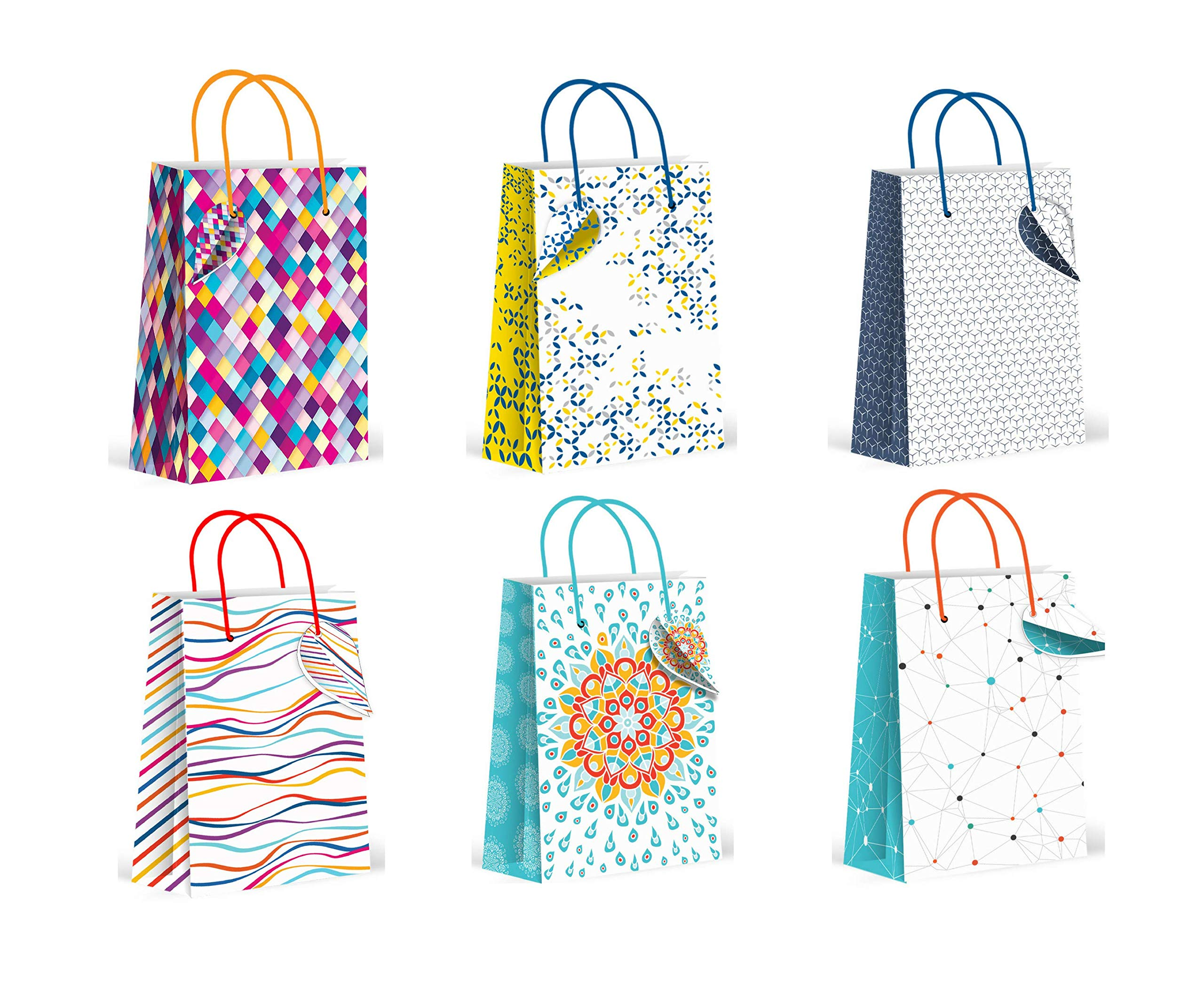 Geometric Pattern Gift Bags (Family), Medium, (one of Each Design), Pack of 6