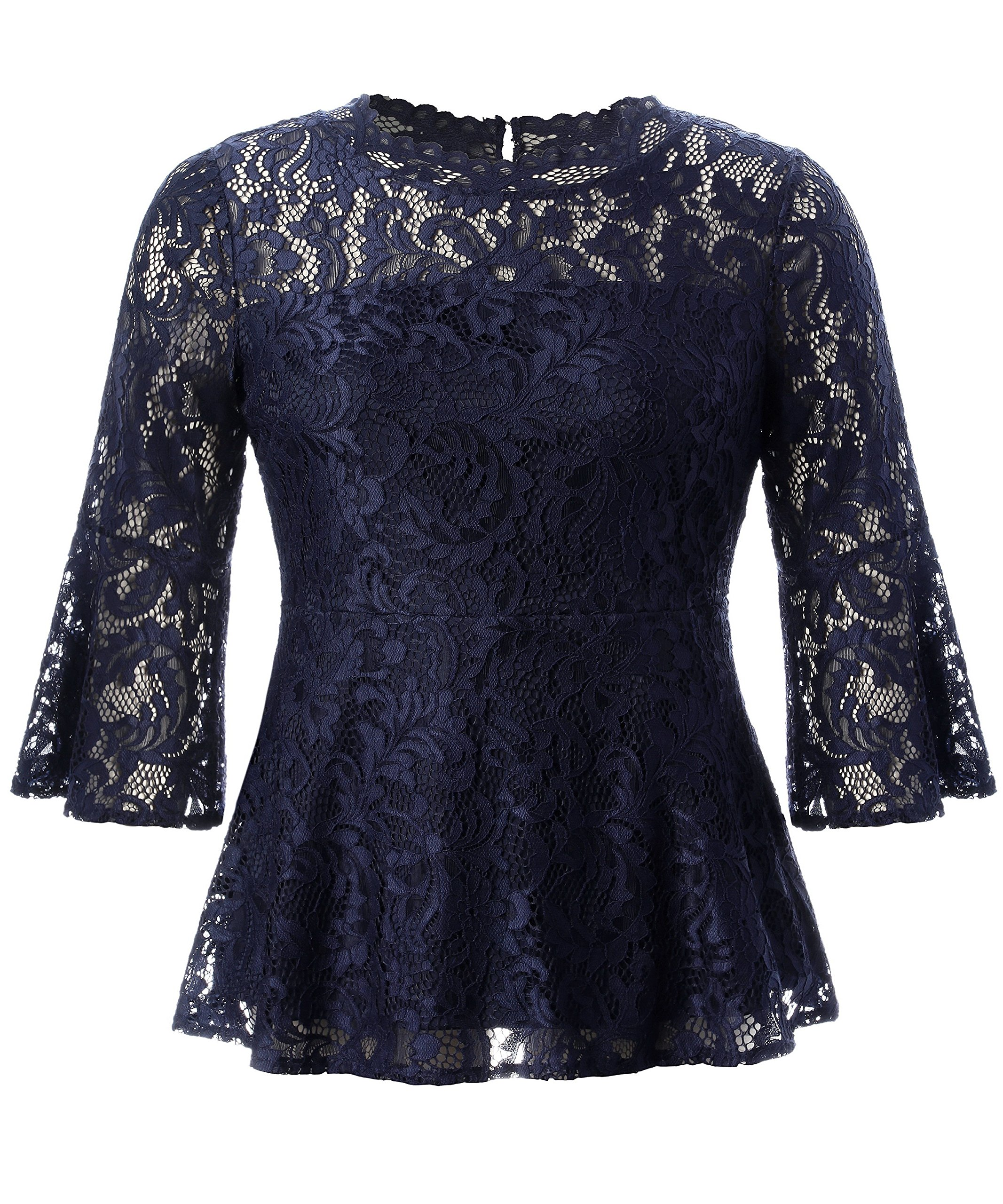 Chicwe Women's Plus Size Stretch Romantic Lace Peplum Top with Scalloped Neck & Flare Sleeves Navy 4X