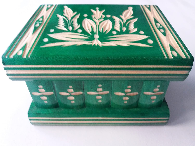 Nueva verde hermosa caja mágica, misteriosa caja, caja puzzle , caja secreta, hecha a mano, casilla complicado, caja de madera tallada, regalo perfecto, juguete de madera: Amazon.es: Handmade
