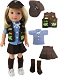 """Brownie Girl Scouts Outfit for Wellie Wisher Dolls - 14 Inch Dolls 
