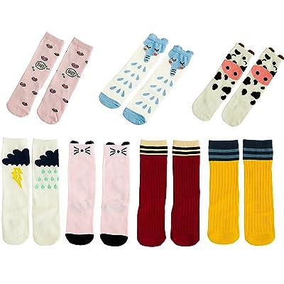 7 Pack Unisex Baby Girls Boys Toddler Socks Knee High Tube Socks (L(3~6 years), 7 pack set A)