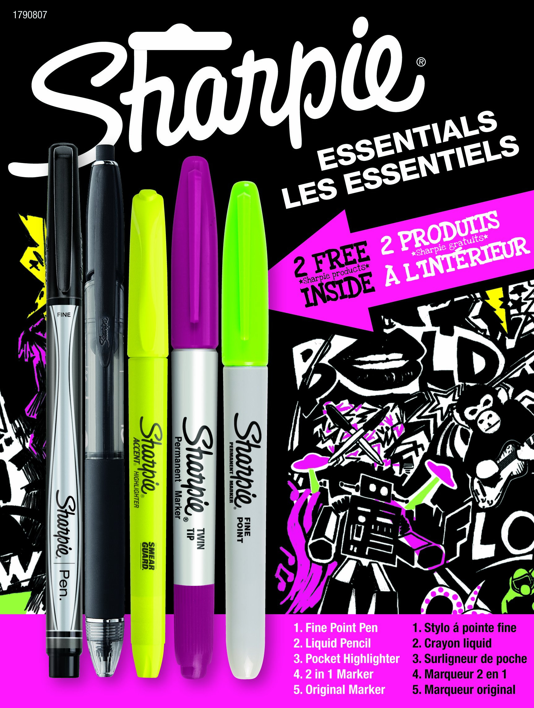 Sharpie Essentials Combination Marker, Pen and Highlighter Pack, Assorted (1790807)