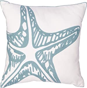 North End Decor Blue Starfish Chain Stitch Decorative 18x18 (Insert Included) Throw Pillows, Stuffed