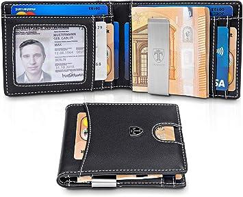 f16f3b8b6b9f3 TRAVANDO Portmonaise Herren Geldbeutel Männer mit Geldklammer Bristol  Brieftasche Kartenetui Slim Portemonnaie Geldtasche Wallet klein Münzfach