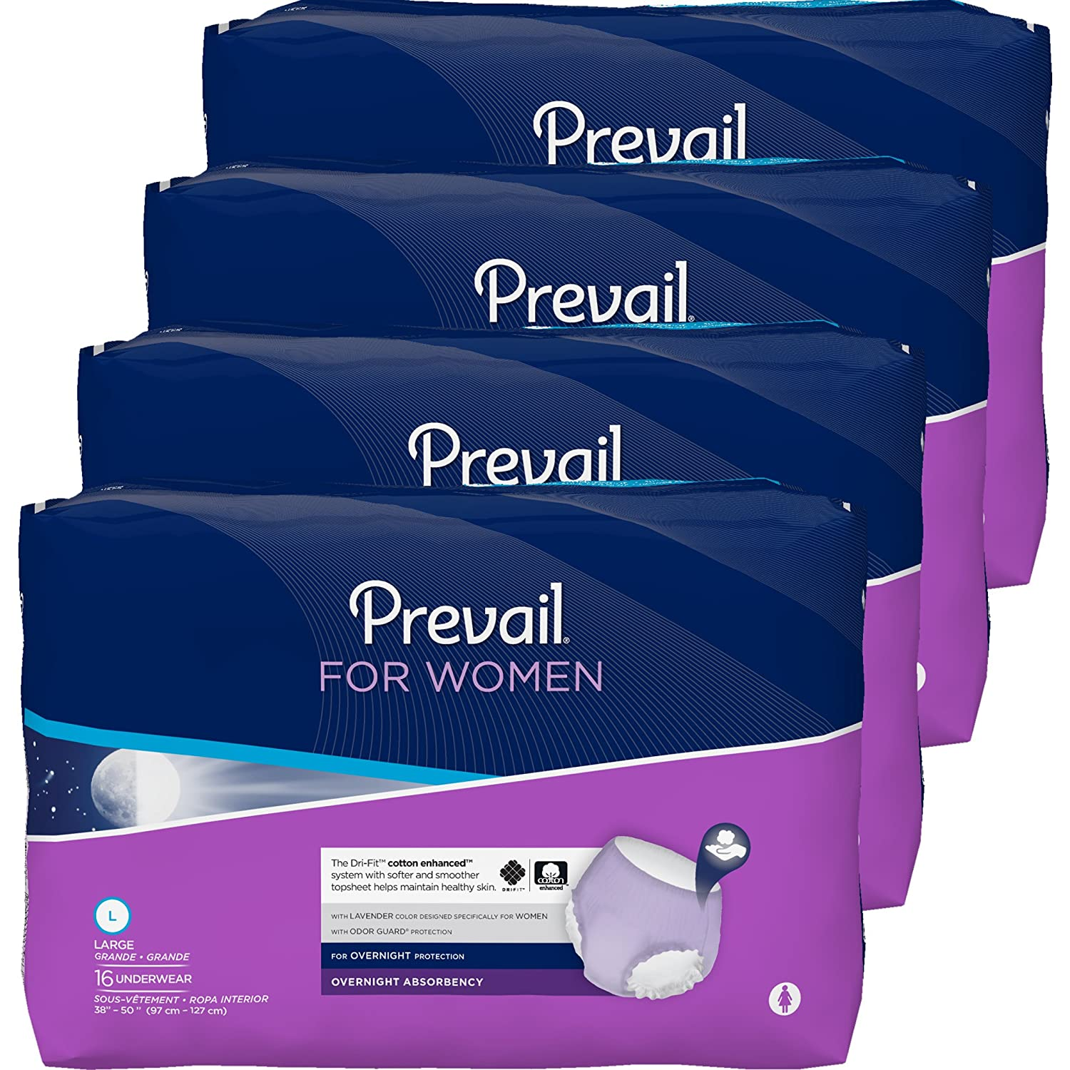 Prevail Overnight Absorbency Incontinence Underwear for Women, Large, 16 Count (Pack of 4)