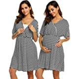 Ekouaer 3 in 1 Nursing Nightgowns V Neck Maternity Hospital Gown for Breastfeeding Delivery Labor Robe - Classic Style
