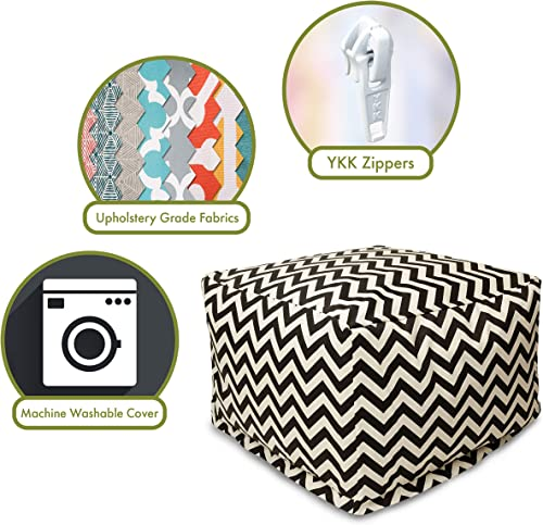Majestic Home Goods Black Zig Zag Ottoman, Large