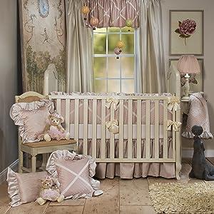 Glenna Jean Angelica Set, 4Piece, Crib Sheet, Quilt, Bumper, Bed Skirt, Pink, Cream, Unique, Frilly, Luxurious