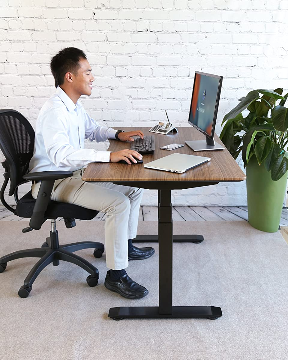 """Seville Classics AIRLIFT S3 Electric Standing Desk Frame/w 54"""" Top and 4 Memory Buttons LED Height Display (Max. Height 51.4"""") - 3-Section Base, Dual Motors, Black with Walnut Top"""