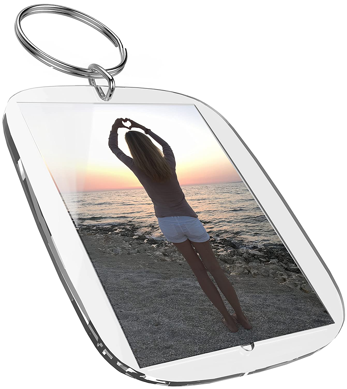 Portachiavi per foto (50 x 35 mm, 5 pezzi) Per foto passaporto, immagini, targhetta realizzata in acrilico Plexiglas altamente trasparente mia mai Buttons