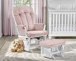 Suite Bebe Victoria Glider and Ottoman in Pink and White - Quick Ship