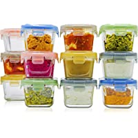 Glass Baby Food Storage Containers with Lids | Set of 12 | 5 oz Glass Food Containers | Freezer Storage | Reusable Small…